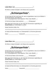 Elternbrief Schlamperliste