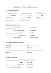 Let's start - a few revision exercises