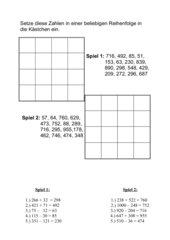 Bingo Spiel zum Kopfrechnen(Addition und Subraktion)