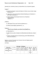 Religionskritik - Willensfreiheit; Klausur / Test 12.JGSt Bayern
