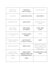 Zuordnungsspiel:  Gegensätze im Schulsystem USA und GB