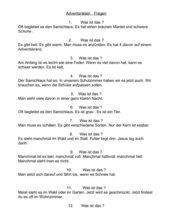 Adventsrätsel - Fragen und Antworten
