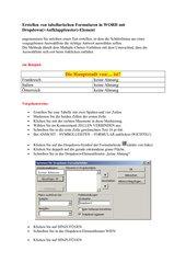 Anleitung Formularerstellung in WORD mit Dropdown-Feldern