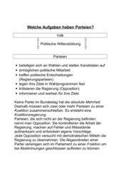 Welche Aufgaben haben Parteien?