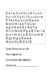 Buchstabe E Optische Analyse- Lesemalblatt