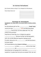 Arbeitsblatt zur deutschen Nationalhymne mit Lückentext