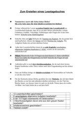 Vorlage für Lesetagebucharbei