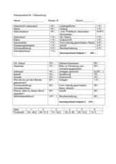 Benotungsbogen für eine Bewerbung (9 Klasse)