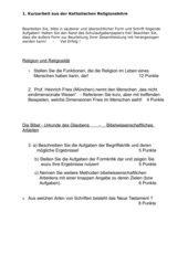 Kurzarbeit / Test ; 11.JGSt: Religiosität; Bibel; Wissenschaftliches Arbeiten;
