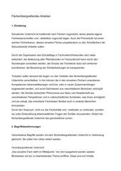 Fachübergreifender und fächerverbindender Unterricht