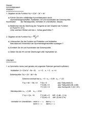 Klausur zur Kurvendiskussion (Kl.11) (mit Lösung)