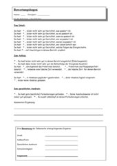 Unfallbericht - Bewertungsbogen für Klassenarbeiten