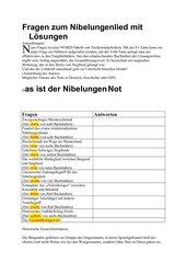 Fragen zum Nibelungenlied mit Lösungen