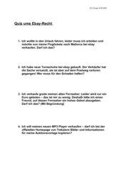 Quiz um Ebay - Internetrecherche mit Lösung
