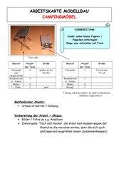 Arbeitskarte Modellbau: Campingmöbel
