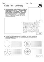 Klassenarbeit - Winkel und Kreise (zweisprachig: dt. / engl.)