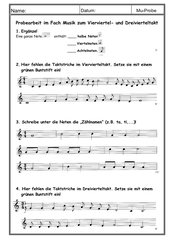 Probearbeit im Fach Musik zum Vierviertel- und Dreivierteltakt (3. Jgst)