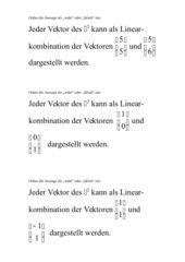 Linearkombination von Vektoren - Plakate für Frei-/Gruppenarbeit
