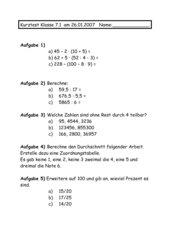 Kurztest Mathematik