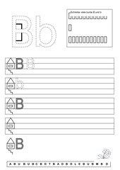 Jeweils zwei einfache Arbeitsblätterzu den Buchstaben U,u/undB,b