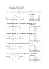 Zahlenrätsel im Zahlenraum bis 1000 (Klasse 3)