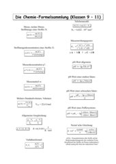 Formelsammlung Chemie (Stöchiometr. Rechnen)