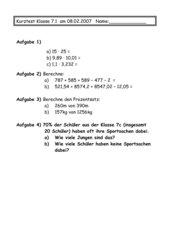 Kurztest Multiplikation, Addition, Prozentsatz, Prozentwert