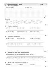 Mathematikarbeit Nr. 3 Klasse 5