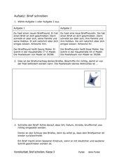 Aufsatzthema: Ich schreibe einen Brief (3. oder 4. Klasse)