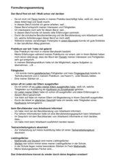 Formulierungssammlung für Bewerbungsschreiben