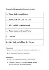 Satzschlusszeichen setzten in Partnerarbeit / Rollenspiel in Gruppenarbeit