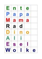 Puzzle-Wörter bzw. Schachtel-Wörter (Vorlage)