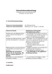 Bildergeschichte, Kl. 5, Hpt.schule, Lernziele, Verlaufsplan