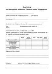 Bewertungsbogen für die Betriebe nach dem Praktikum