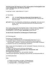 Verordnung über Förderung von Sch. mit besonderen Schwierigkeiten beim Lesen, Rechtschreiben oder Rechnen