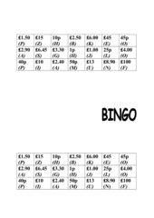 Bingo-Spiel - Thema: Money money money