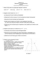 Klausur zu e- und ln- Funktionen