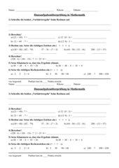 HÜ Rechenregeln (Punkt vor Strich, Klammern zuerst)