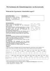 Schmelztemperatur von Kerzenwachs - AB und Versuchsanleitung