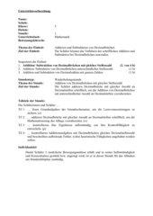 Unterrichtsvorbereitung - Addition von Dezimalbrüchen