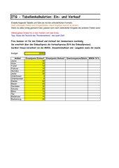 Tabellenkalkulation (exel), Ein- und Verkauf