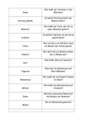 Frage-Antwort-Karten Thema Islam