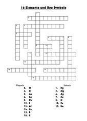 Kreuzworträtsel: Chemische Symbole