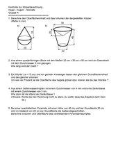 Kontrolle zur Berechnung von Kegel, Kugel, Stumpf