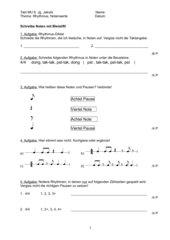 Test: Achtel- und Viertelnoten und Pausen, Fachbegriffe