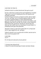 Brief als Aufforderung an die Kinder selbst einen Brief zurück zu schreiben