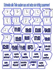 Uhrzeitenpuzzle - volle Stunde