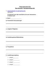 Internetrecherche/Berufswahl: Handwerk