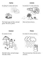 Seasons, weather - Arbeitsblatt für Klasse 1 und 2