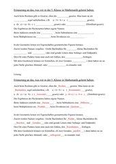 Merktext mit Lücken Rechengesetze & Geo Kl. 5